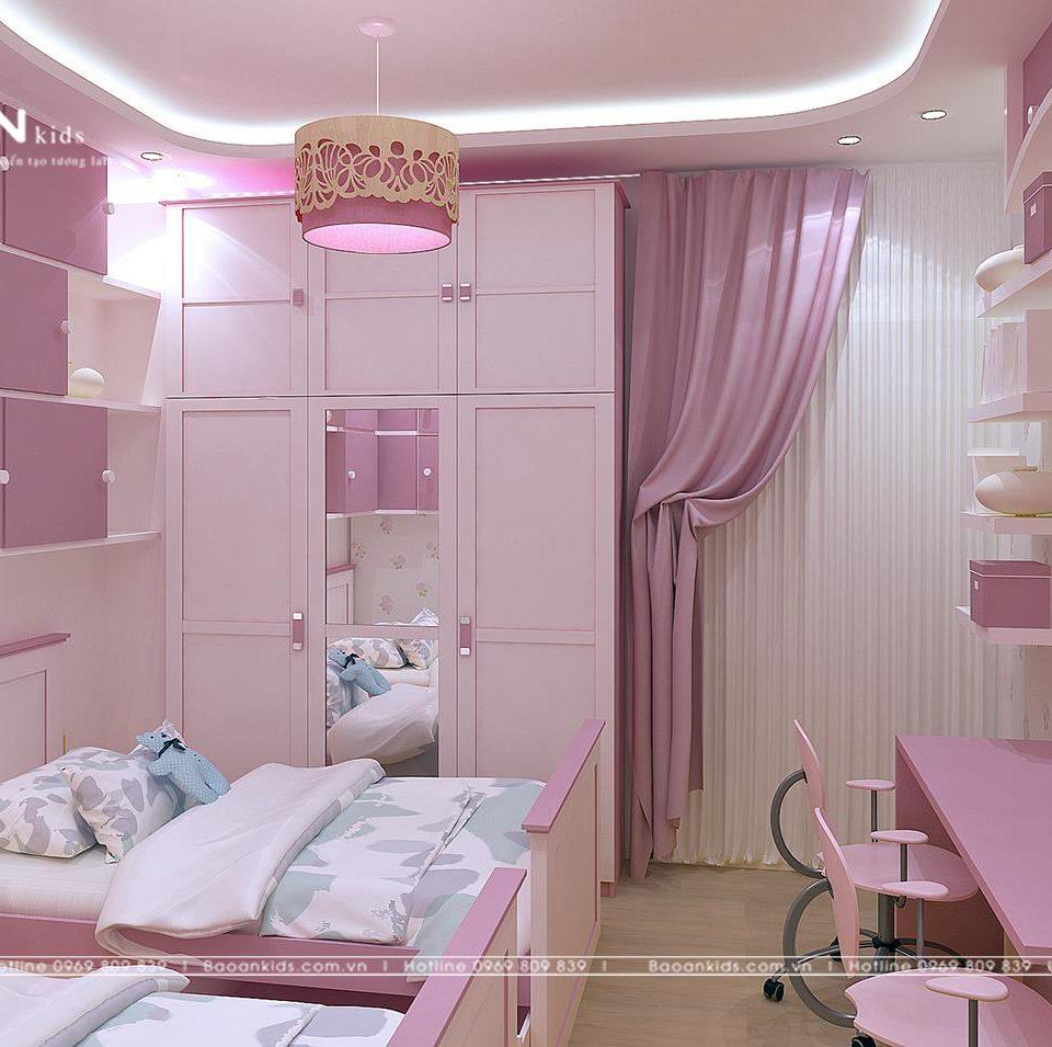 Phòng ngủ màu hồng cho bé gái bg01
