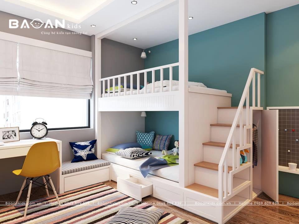 giường tầng trẻ em đơn giản GT03