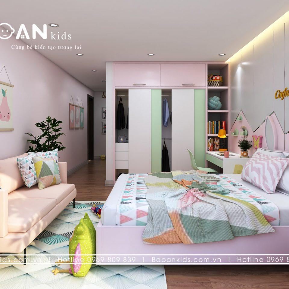Thiết kế phòng ngủ bé gái sáng tạo bg04 view1