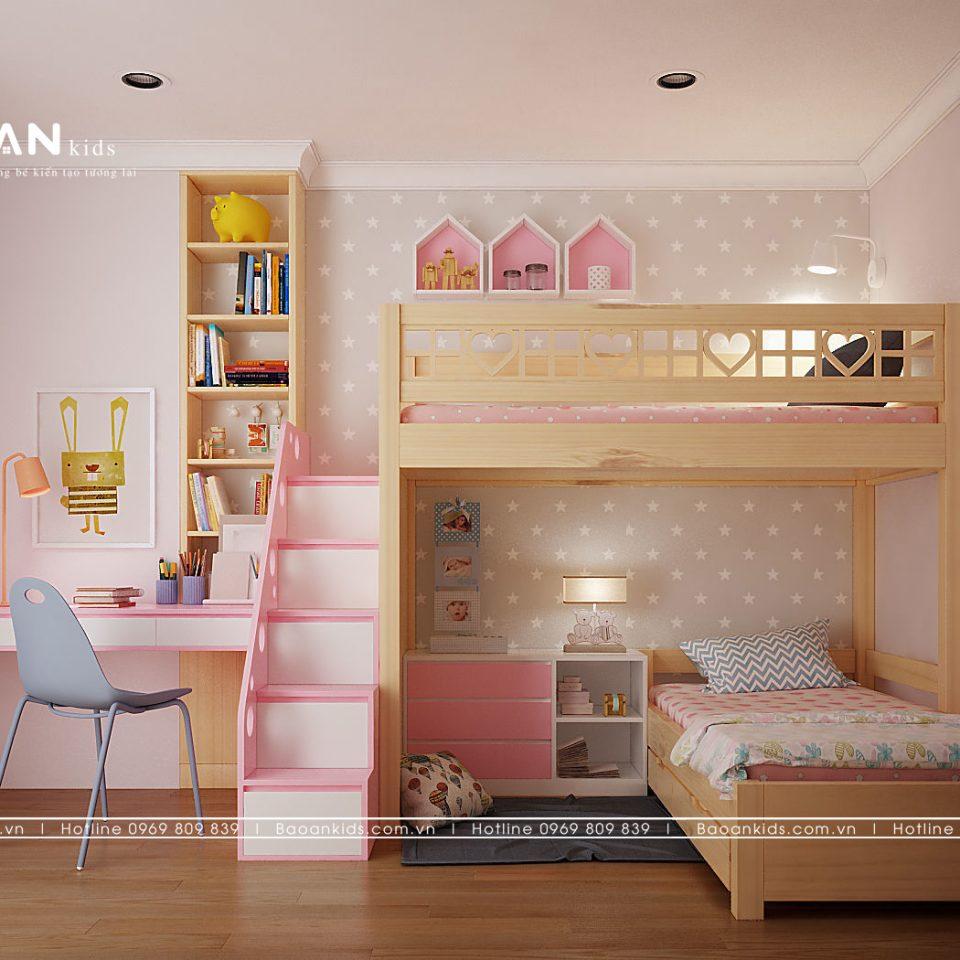 giường tầng bé gái gỗ tự nhiên GT11