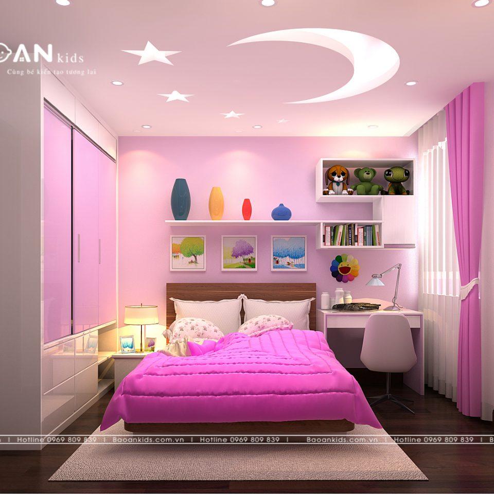 Phòng ngủ bé gái màu hồng img1