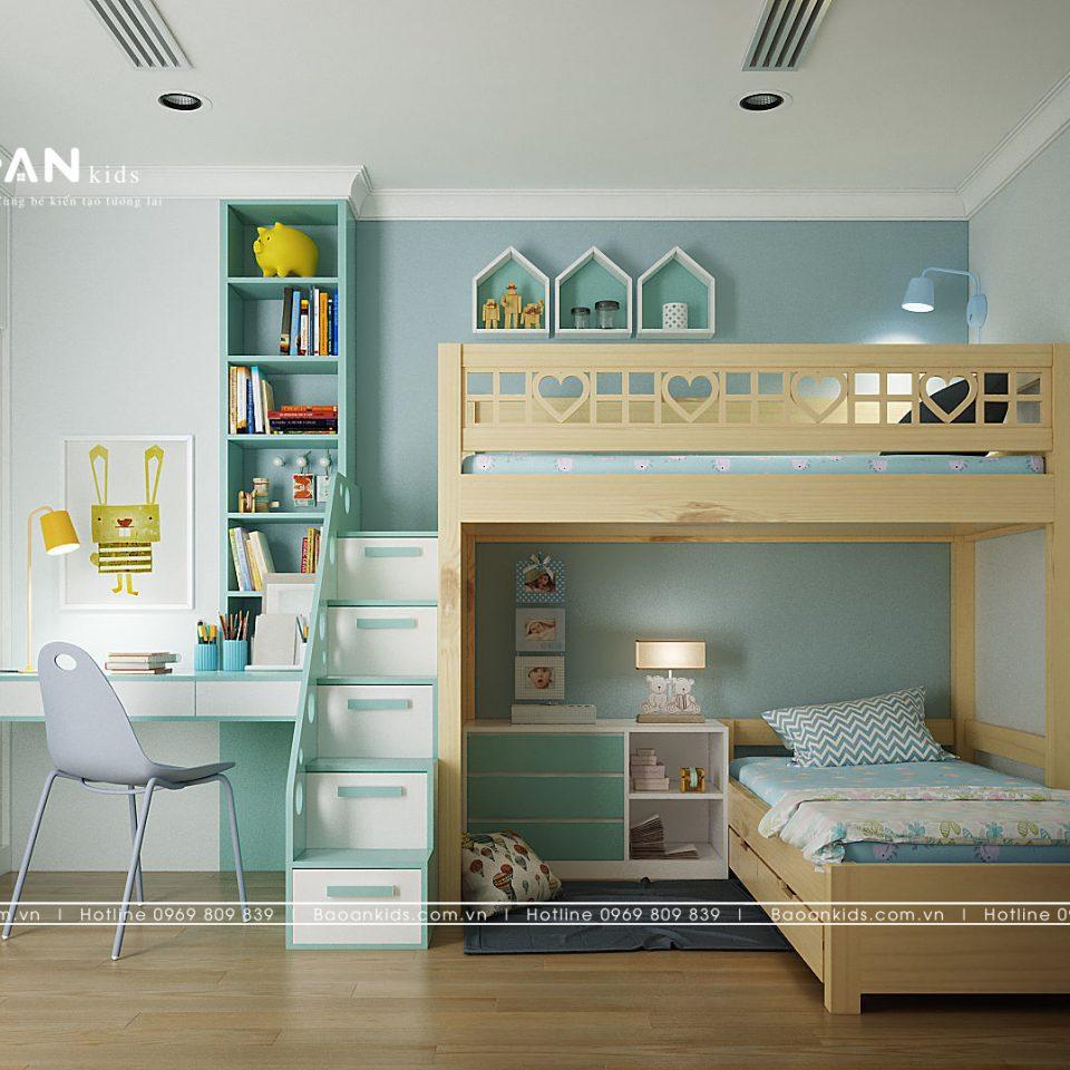 giường tầng bé gái đẹp gỗ tự nhiên gt12