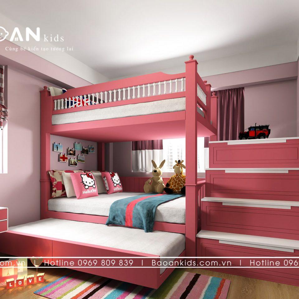 giường tầng bé gái màu hồng gt13