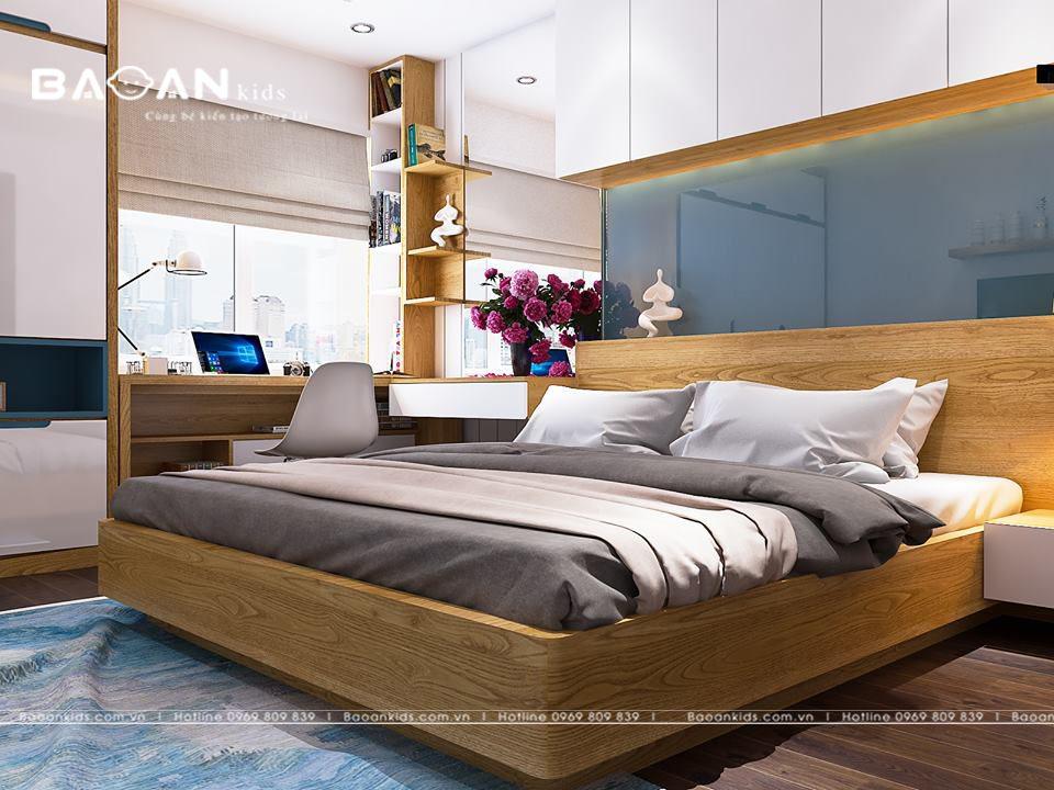 phòng ngủ bé trai màu gỗ tự nhiên bt09 view 1