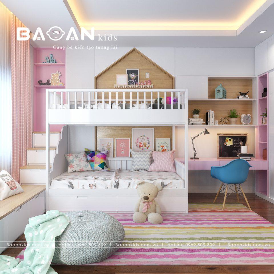 Giường tầng đẹp dành cho bé gái với thiết kế liên hoàn