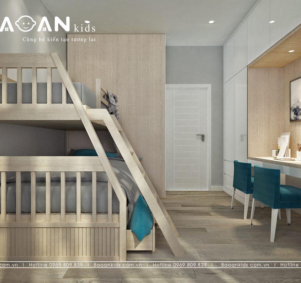 giường tầng màu gỗ tự nhiên GT19