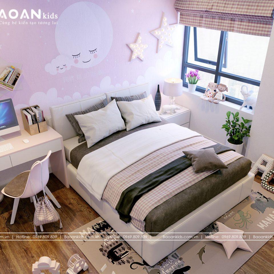 Mẫu phòng ngủ bé gái màu hồng Bg13 View 4