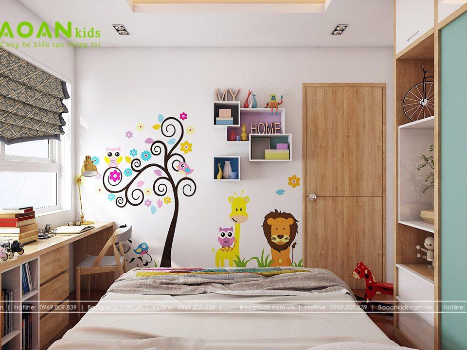 Phòng ngủ bé gái diện tích nhỏ bg14 view2
