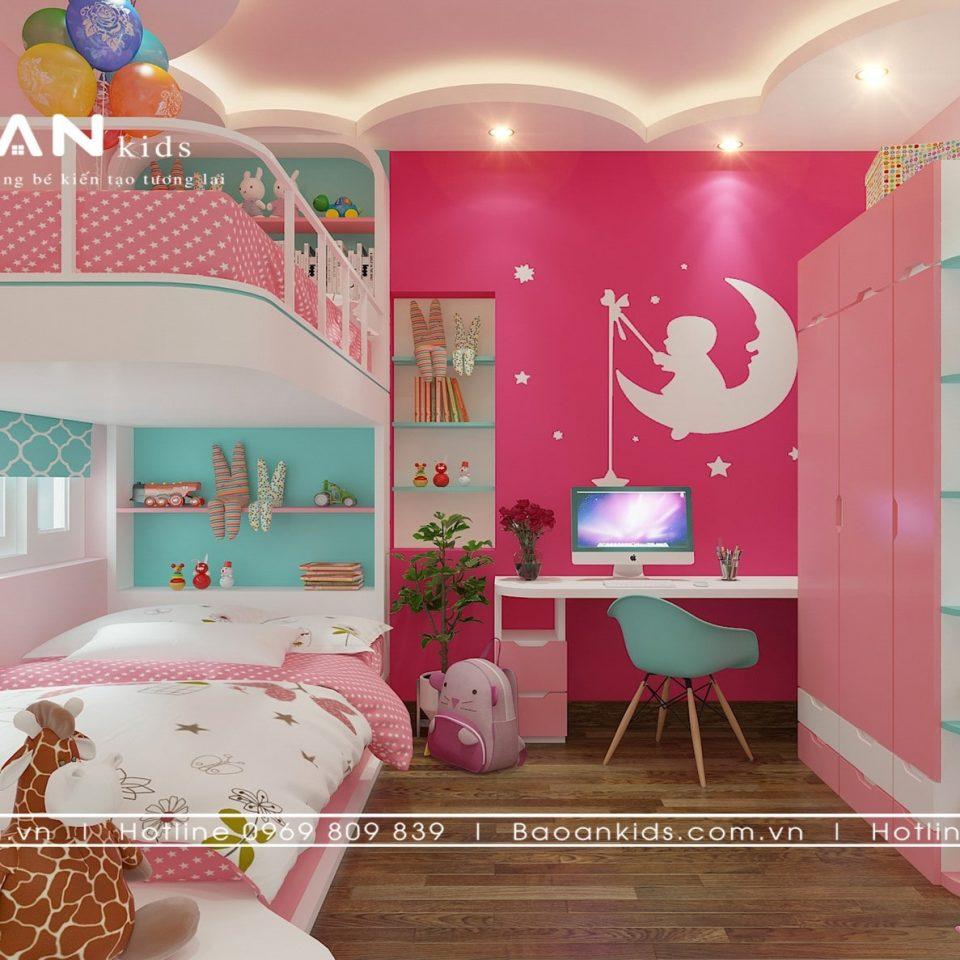 Phòng ngủ bé gái thiết kế giường tầng - BG17 view 5