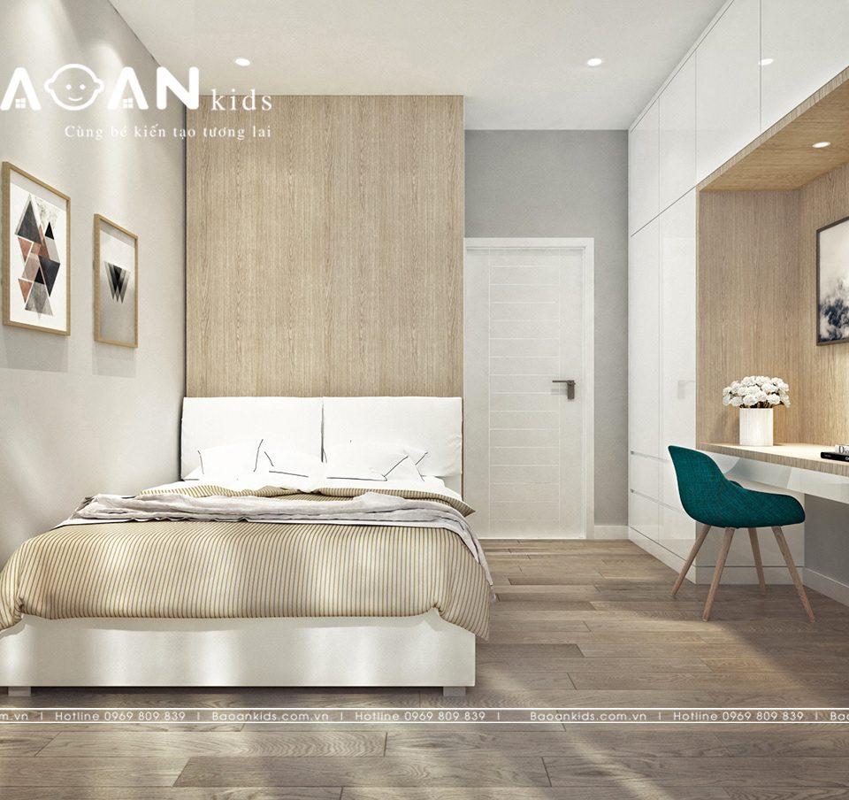Phòng ngủ màu gỗ tự nhiên dành cho con trai