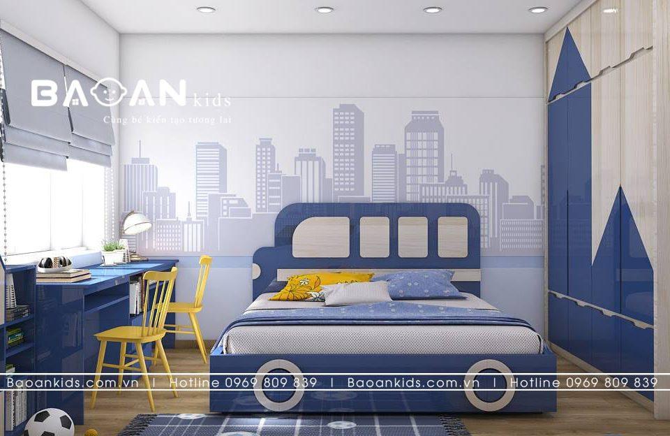 Thiết kế giường ngủ ô tô cho bé trai - BT26