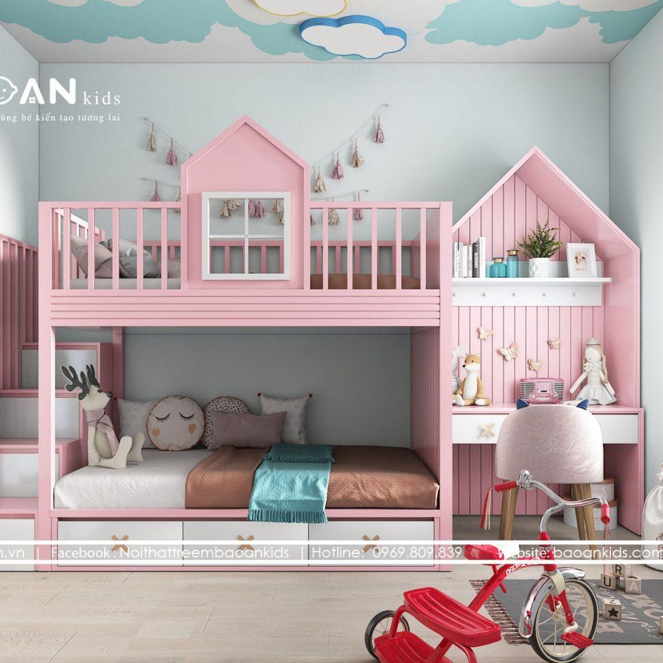 GT33 giường tầng cho bé gái view 1