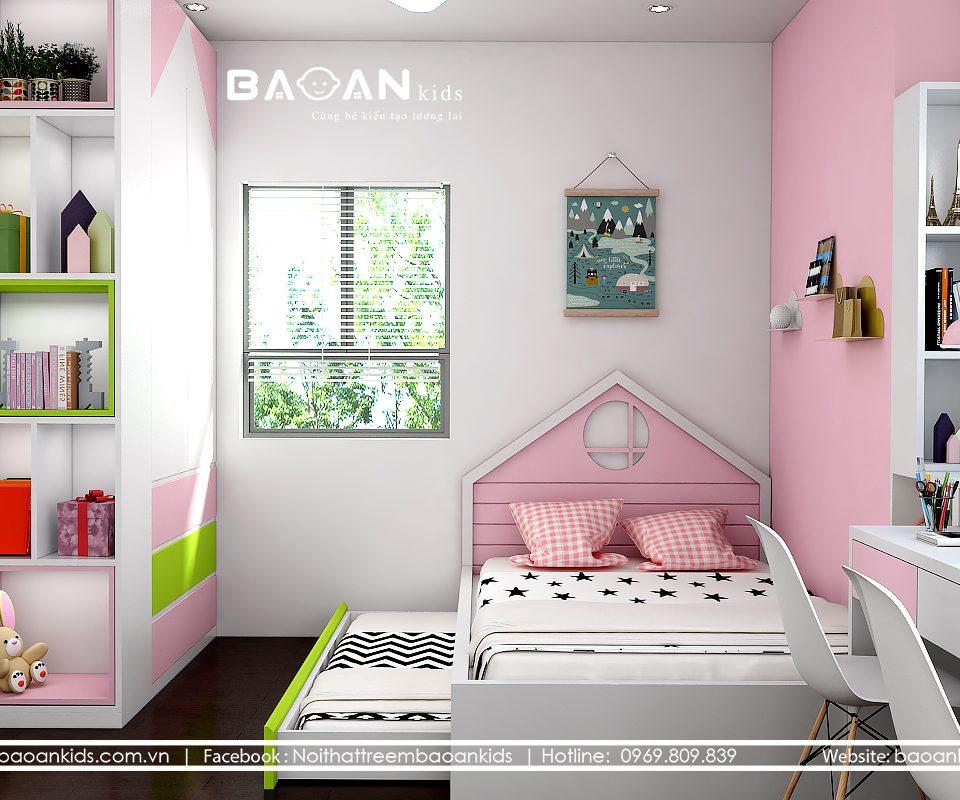 phòng ngủ bé gái diện tích hẹp view 2