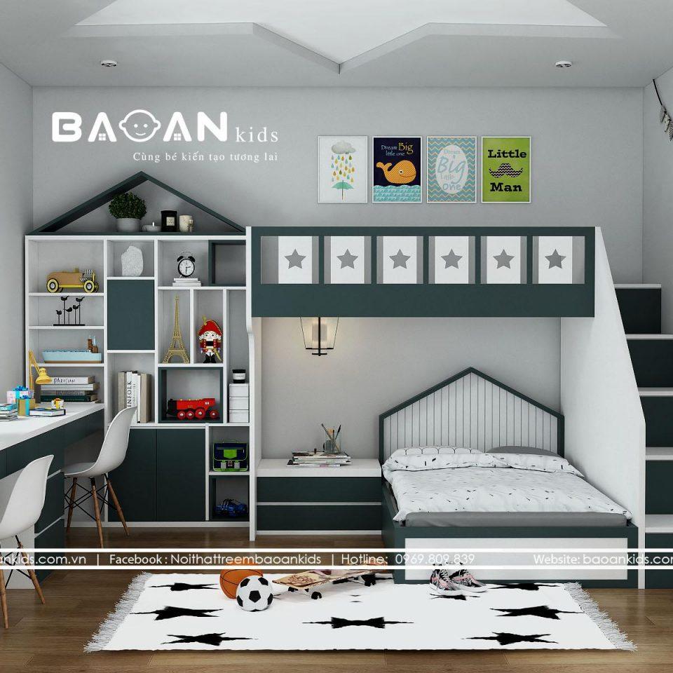 GT37 mẫu giường tầng bé trai đẹp view 2