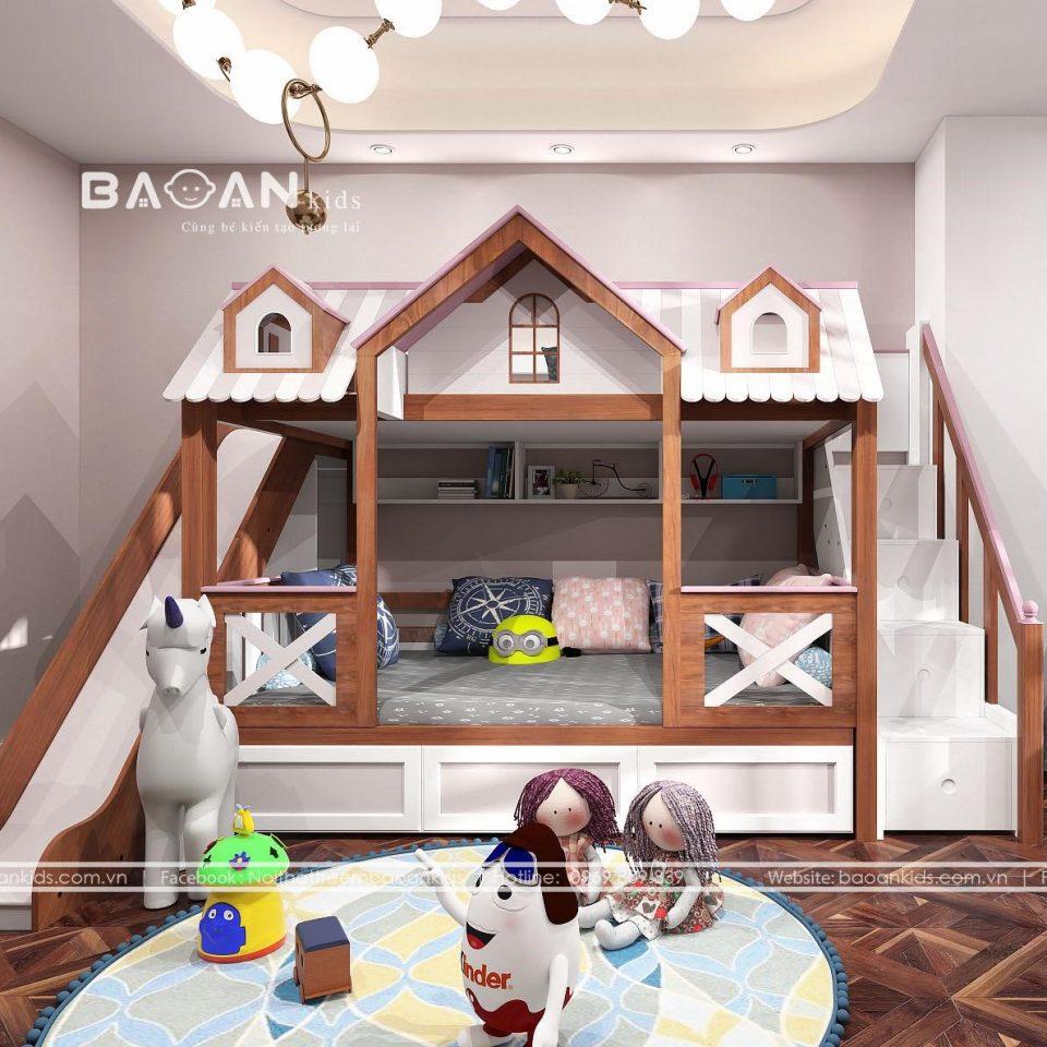 giường tầng gỗ tự nhiên có cầu trượt GT47 view 1