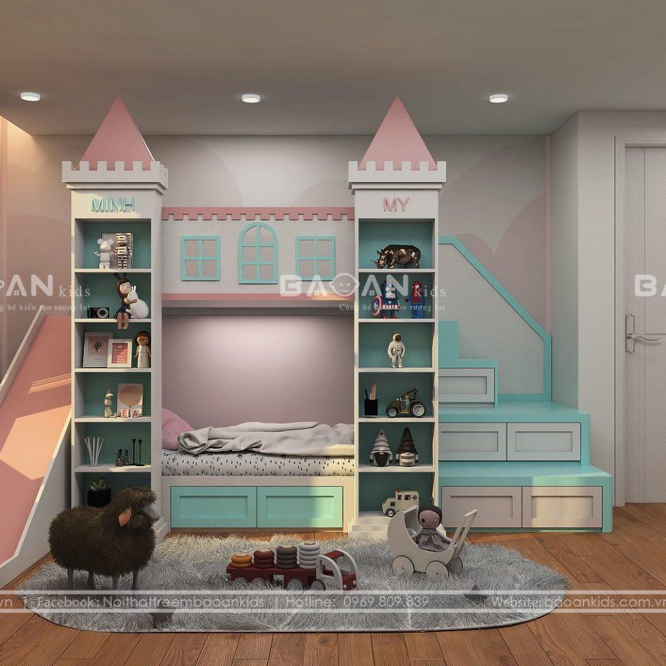 giường tầng cho bé trai và gái có cầu trượt gt61 view 1
